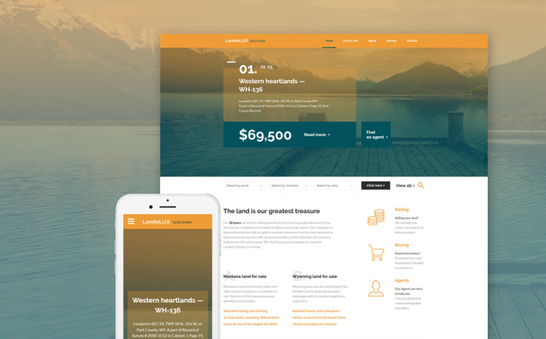 LandeLux - Land Broker Responsive Website Template New Screenshots BIG