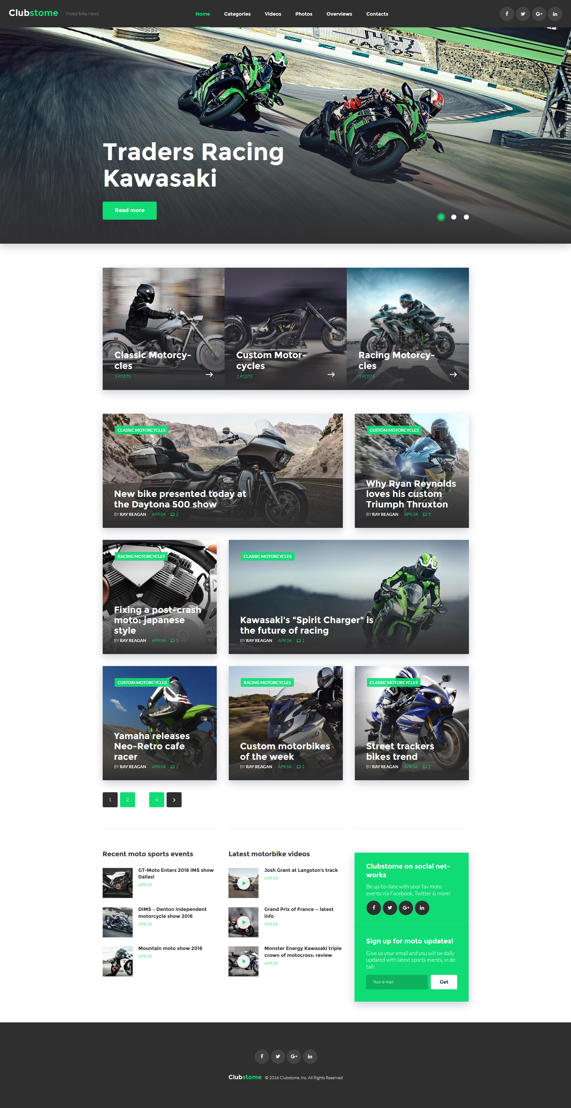"Modello WordPress Responsive #58571 ""Clubstome - Sport Racing"""