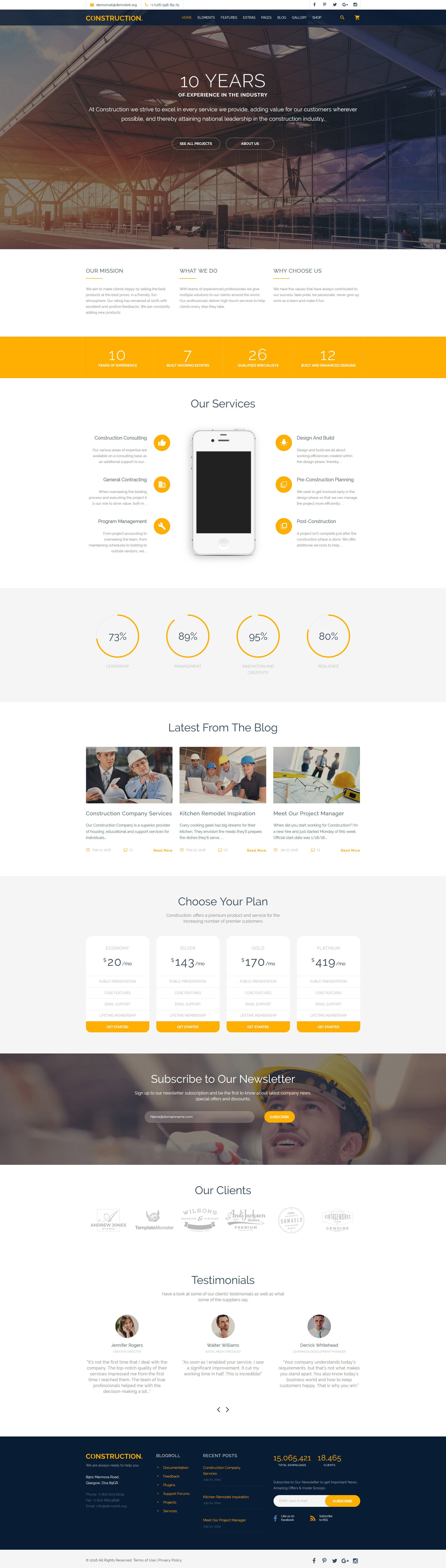 Responsive Construction Multipurpose Web Sitesi #58533