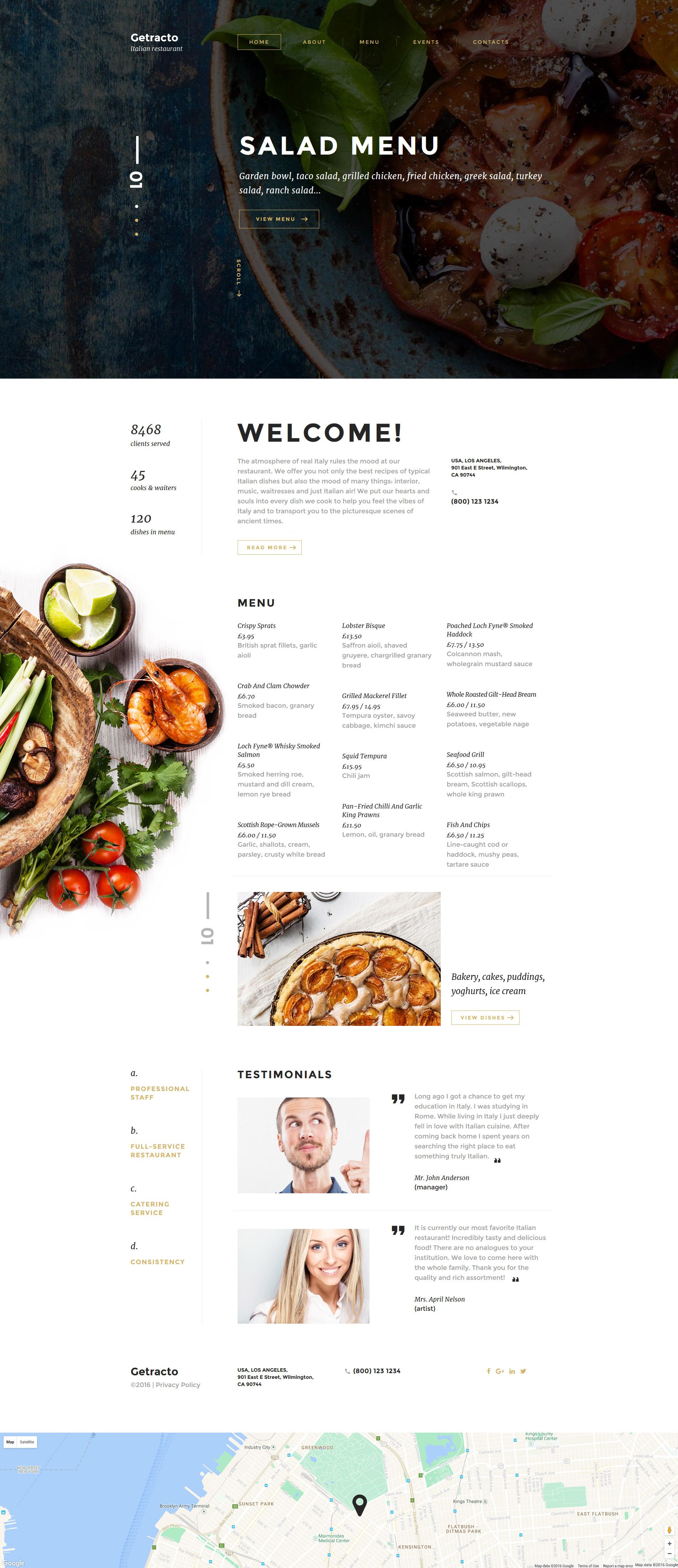 Responsive Website template over Italiaans restaurant №58527 - screenshot