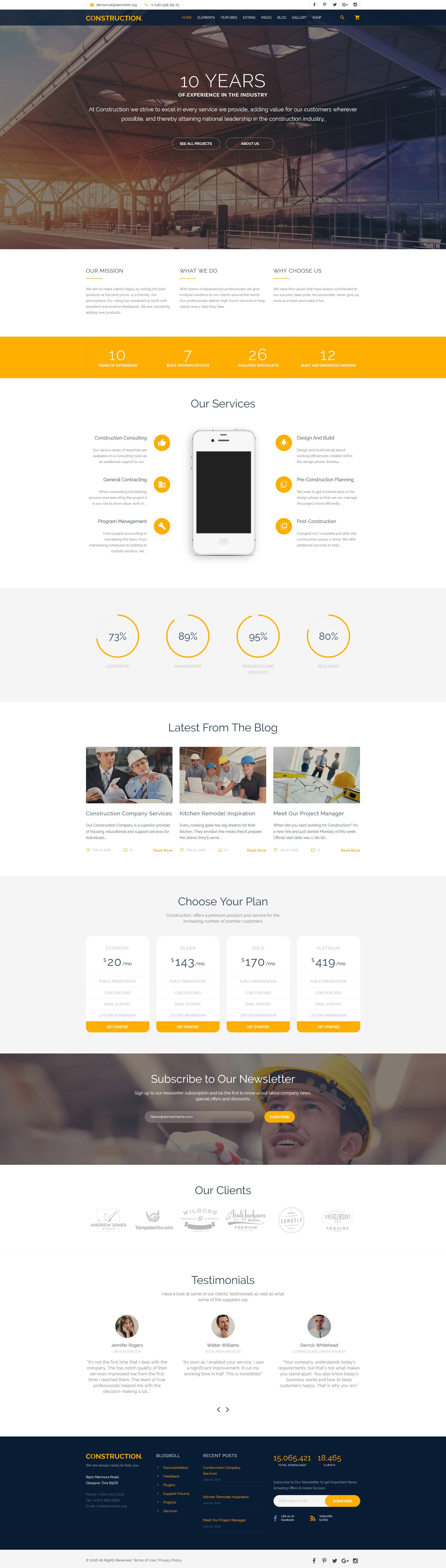 Responsivt Construction Multipurpose Website Template Hemsidemall #58533