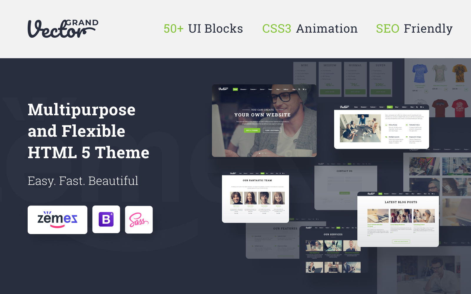 """Responzivní Šablona webových stránek """"Grand Vector - Web Design Studio HTML5 Website Template"""" #58530"""