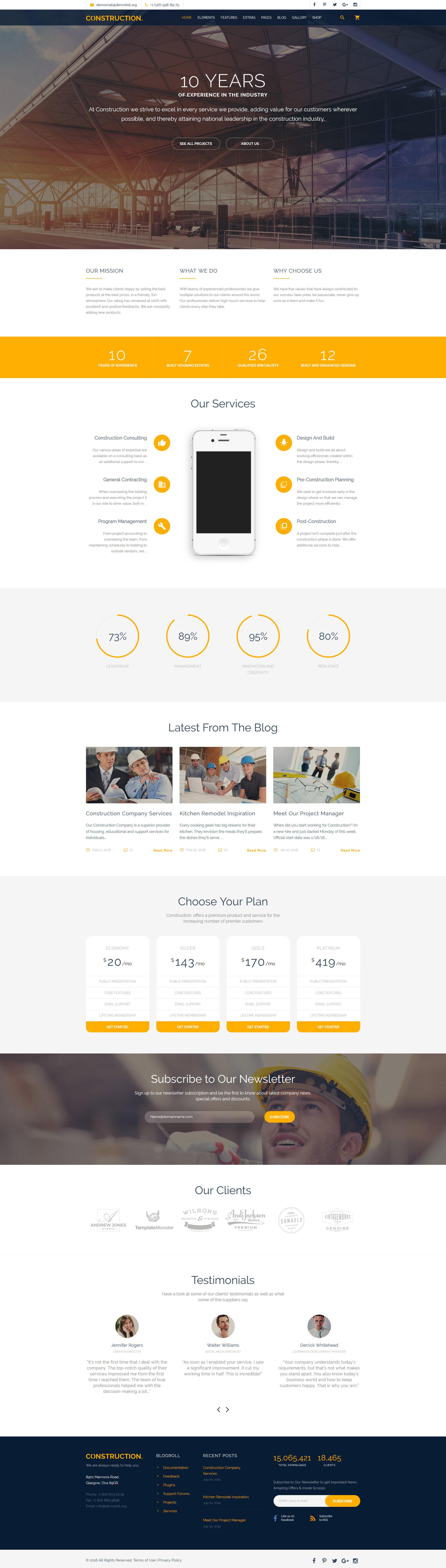 Reszponzív Construction Multipurpose Weboldal sablon 58533