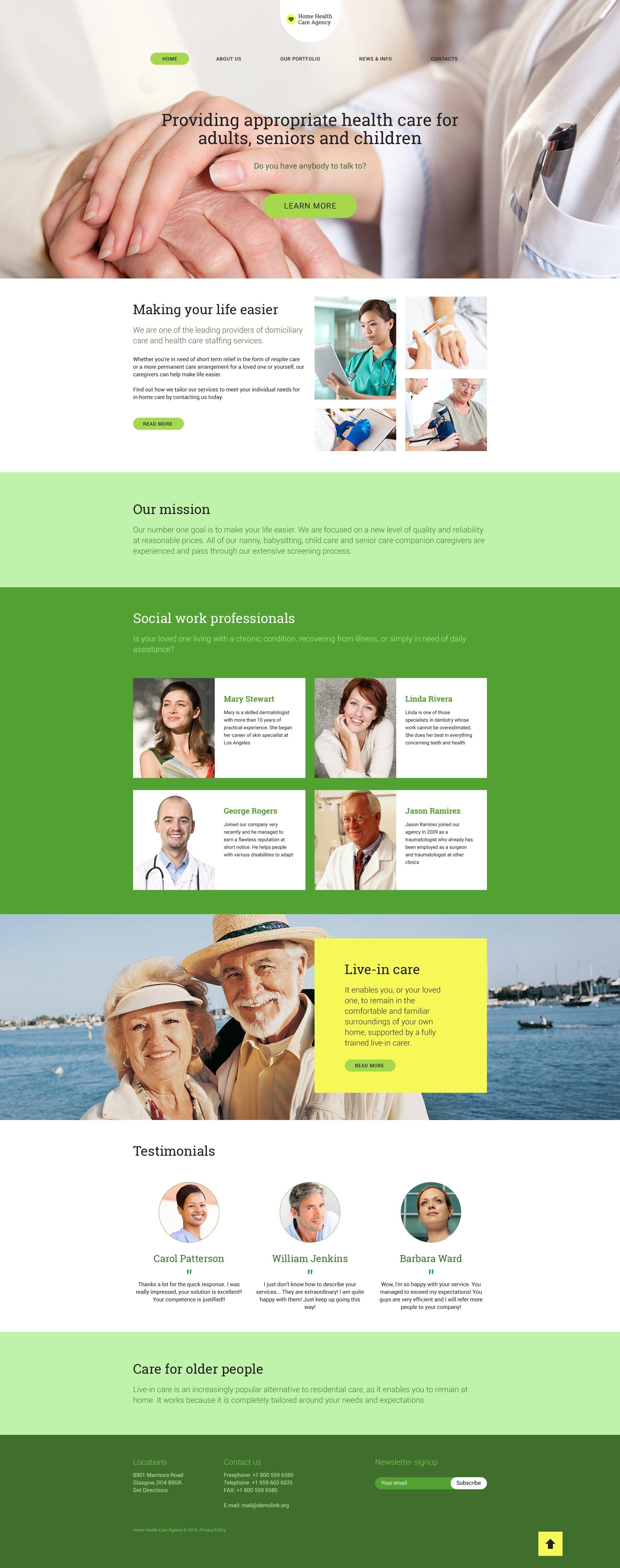 Reszponzív Home Health Care WordPress sablon 58522