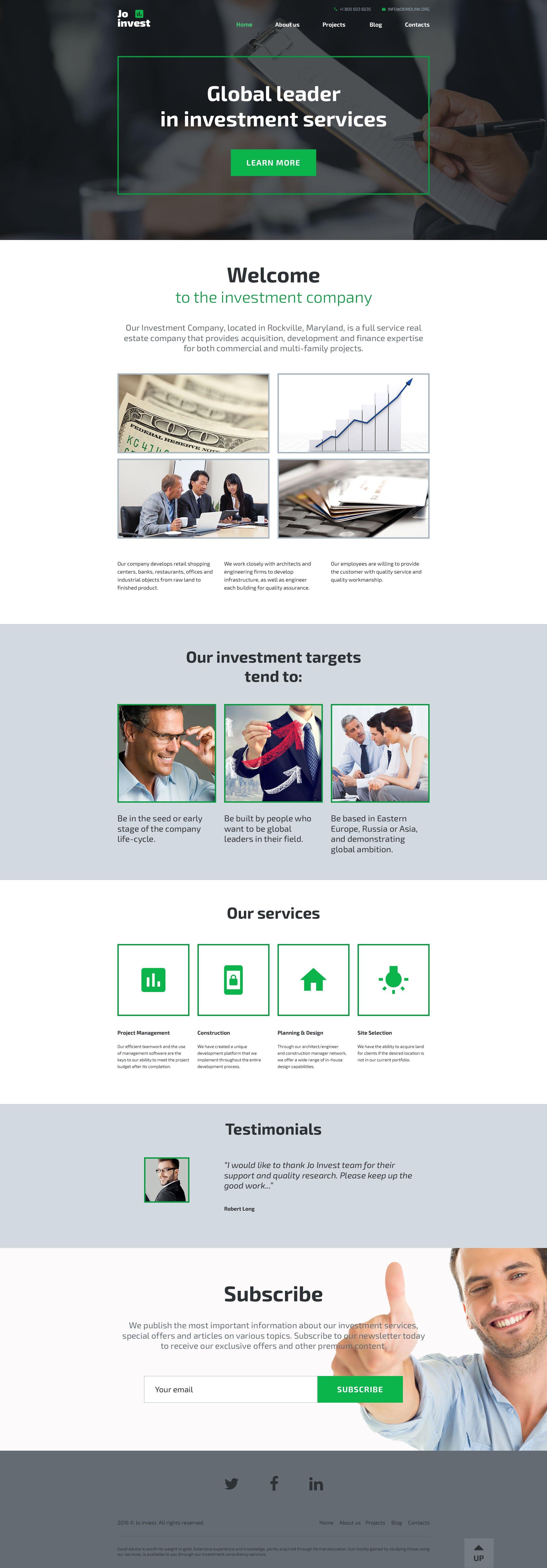 Reszponzív Jo Invest WordPress sablon 58591 - képernyőkép