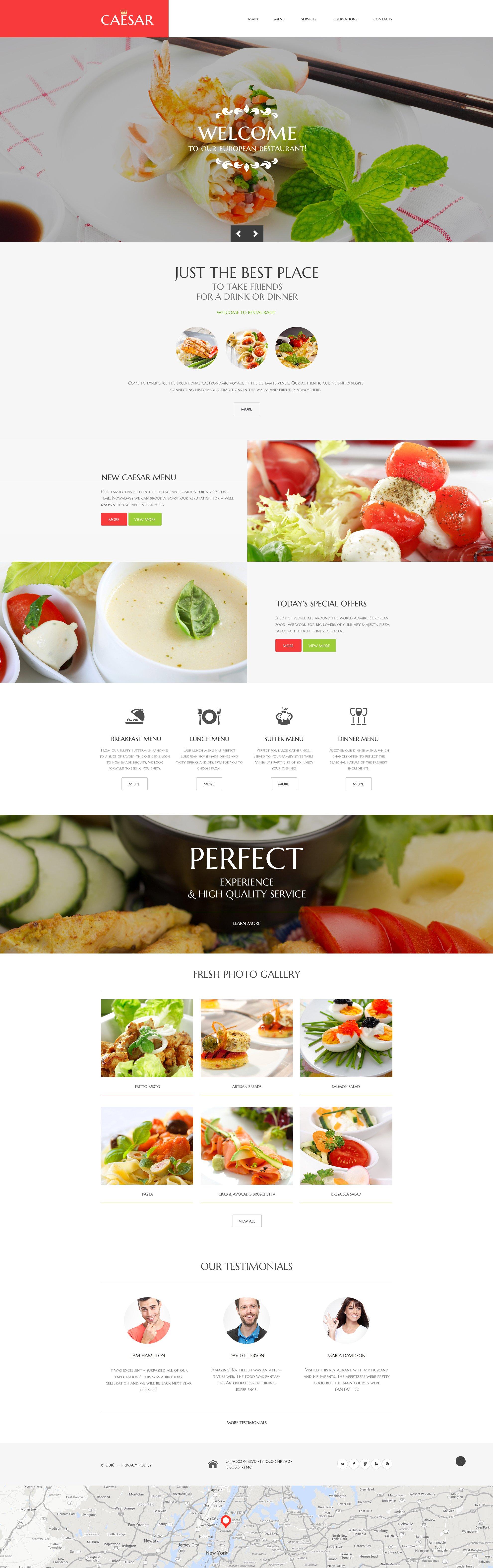 Reszponzív Kávézó és étterem Weboldal sablon 58582 - képernyőkép