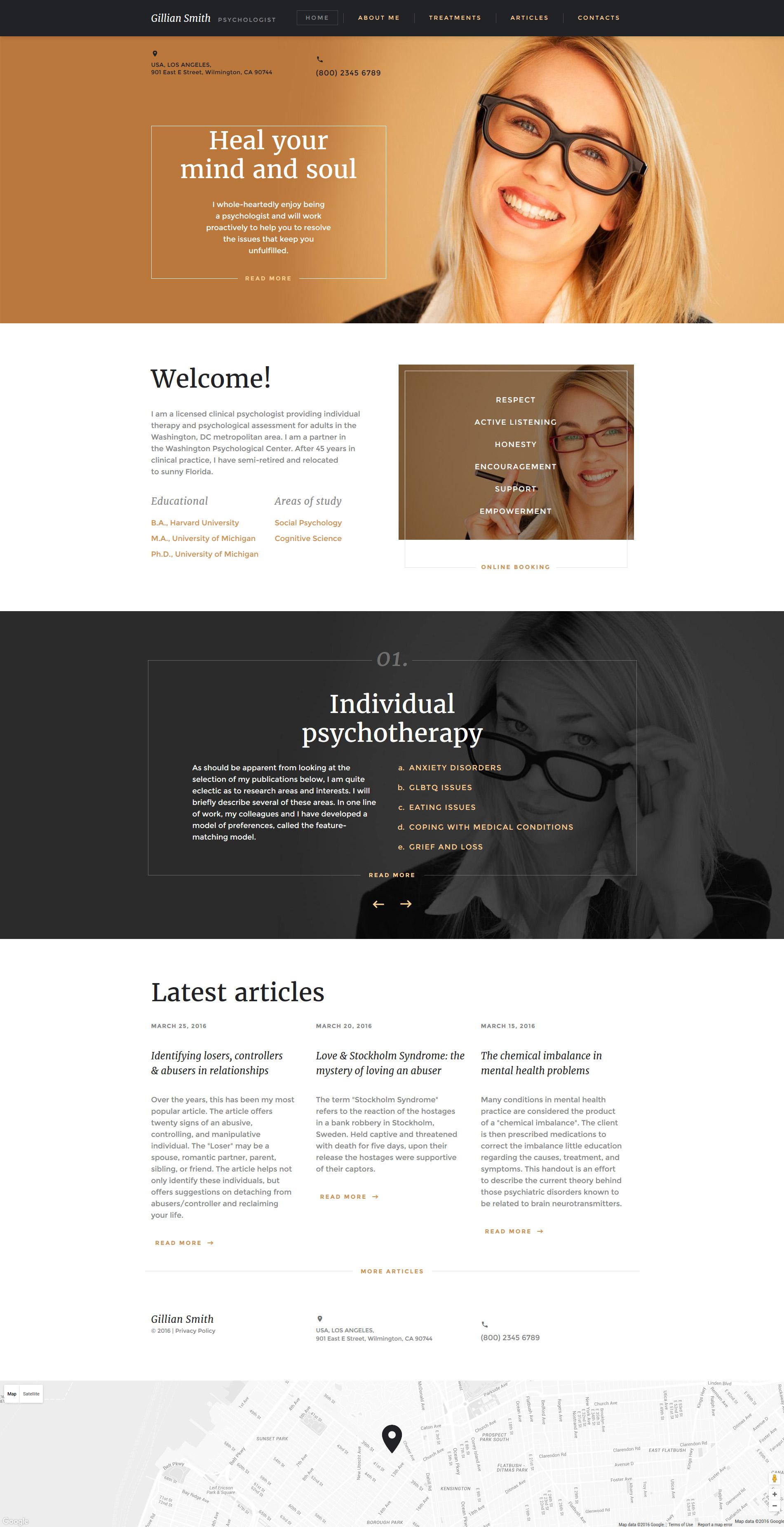 Reszponzív Pszichológus Weboldal sablon 58529