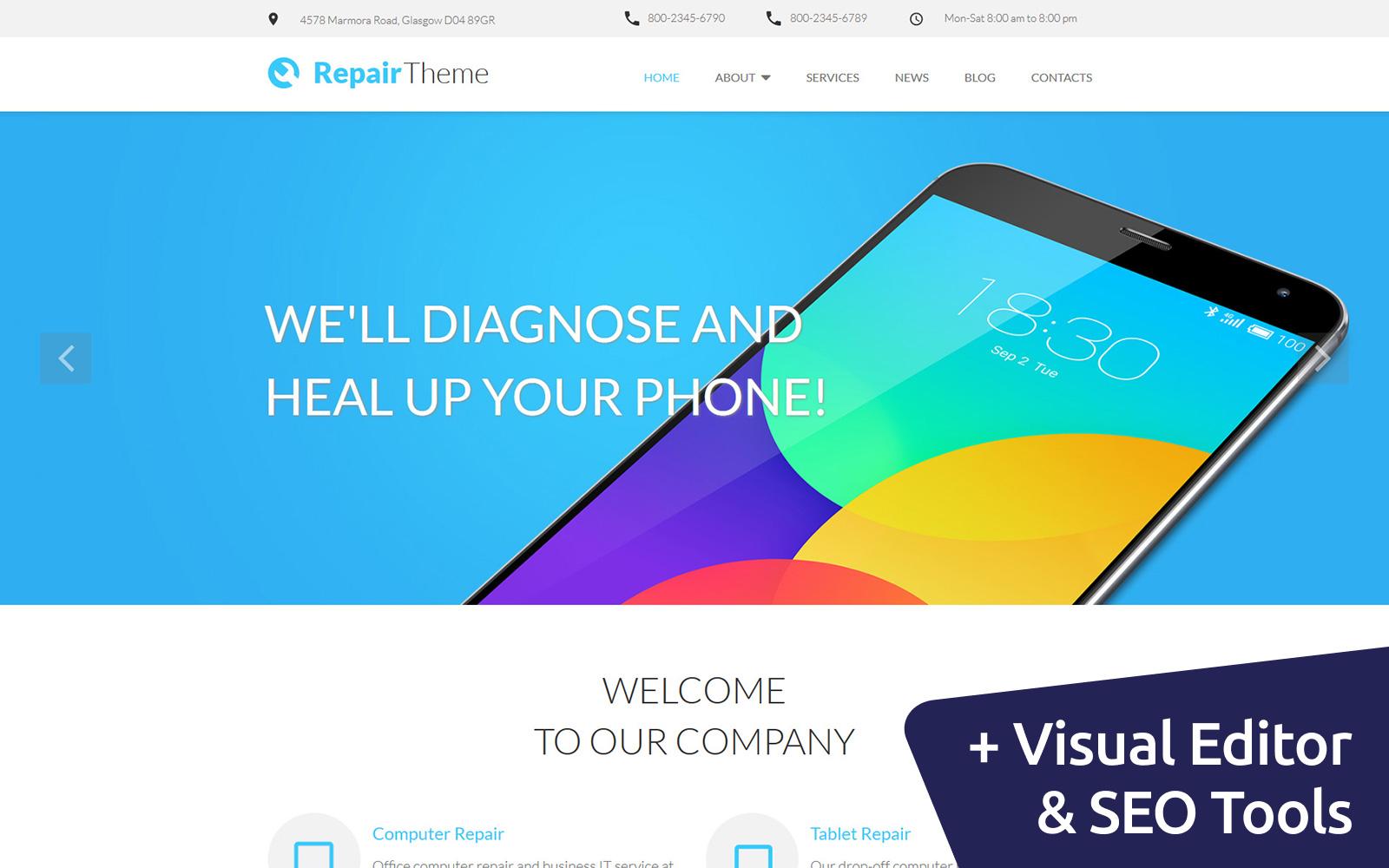 Reszponzív Repair Theme - Mobile Service Moto CMS 3 sablon 58551