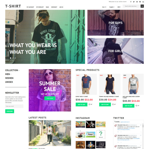 T-Shirt - Magento Template based on Bootstrap
