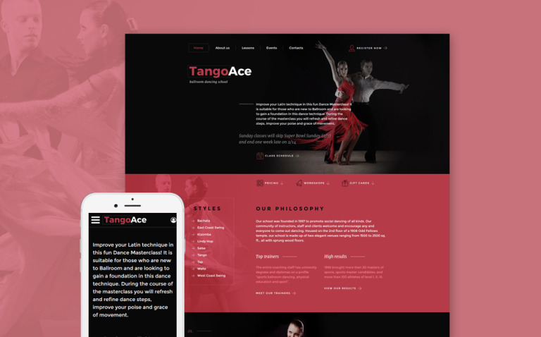 TangoAce - Dance Studio Website Template New Screenshots BIG