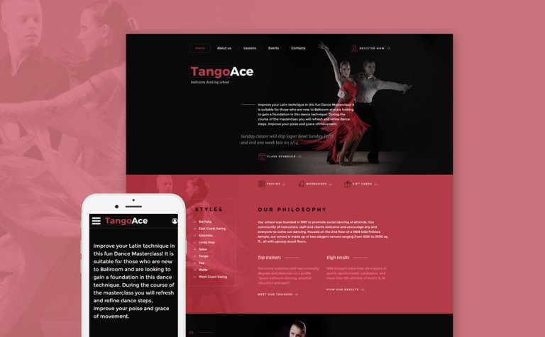 4824b96964b TangoAce - Dance Studio Website Template New Screenshots BIG