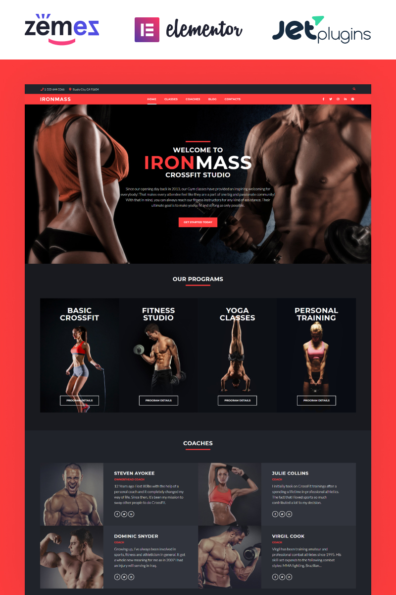 "Tema WordPress Responsive #58536 ""IronMass - Fitness e Bodybuilding"""