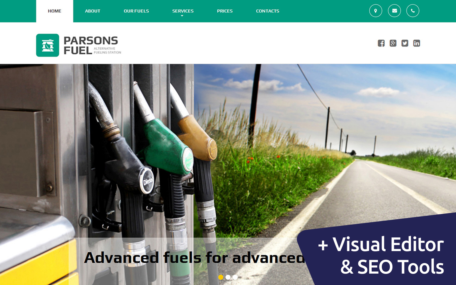 """Template Moto CMS 3 Responsive #58558 """"Gas Station"""""""