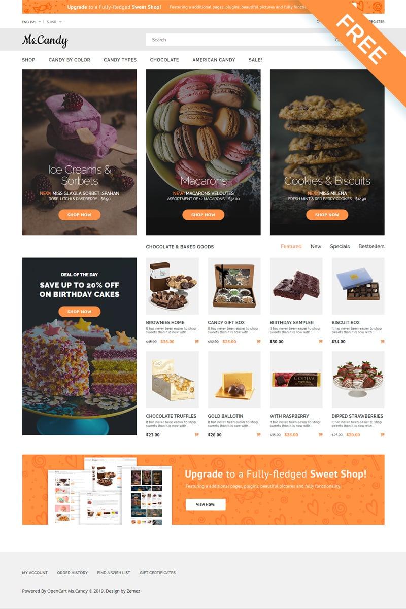 "Template OpenCart Responsive #58576 ""Ms.Candy - Sweet Shop Modern"""