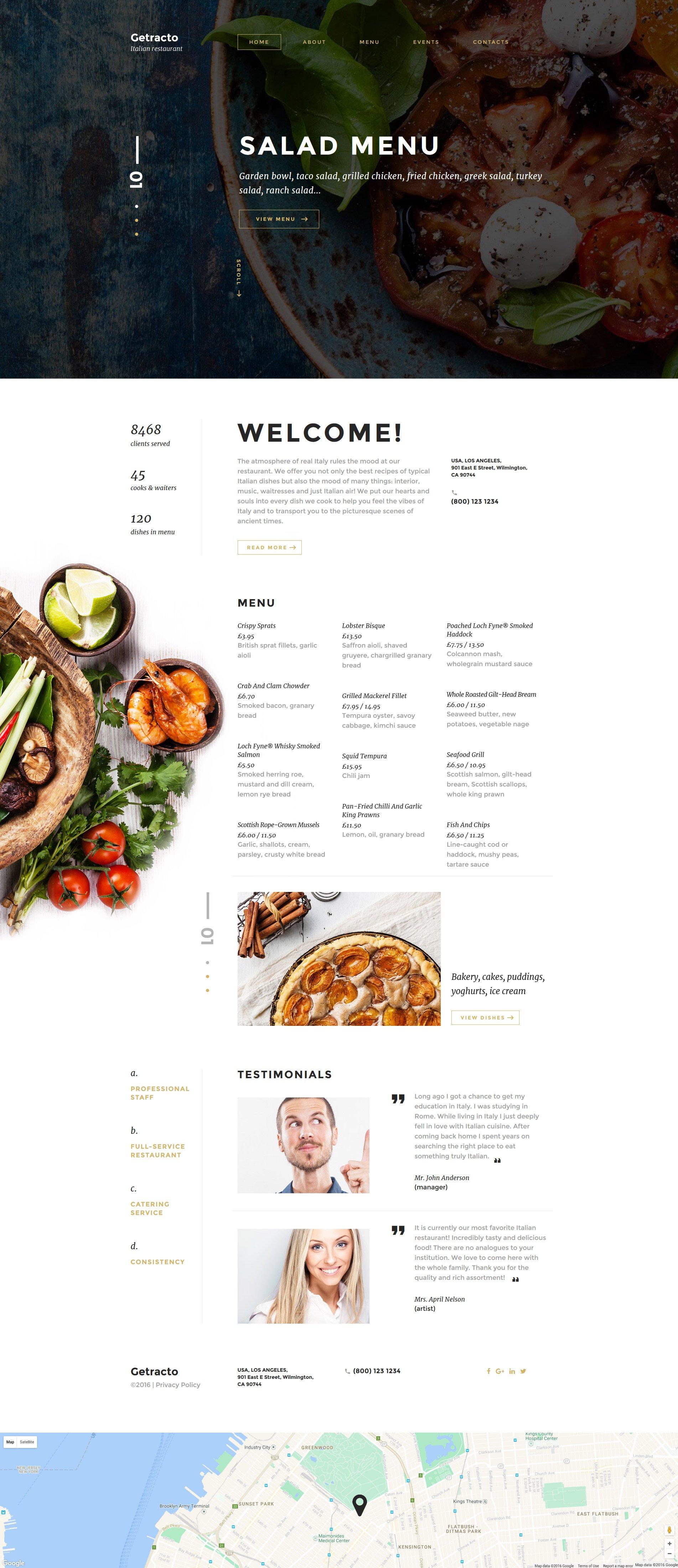 Template Web Flexível para Sites de Restaurante Italiano №58527 - captura de tela