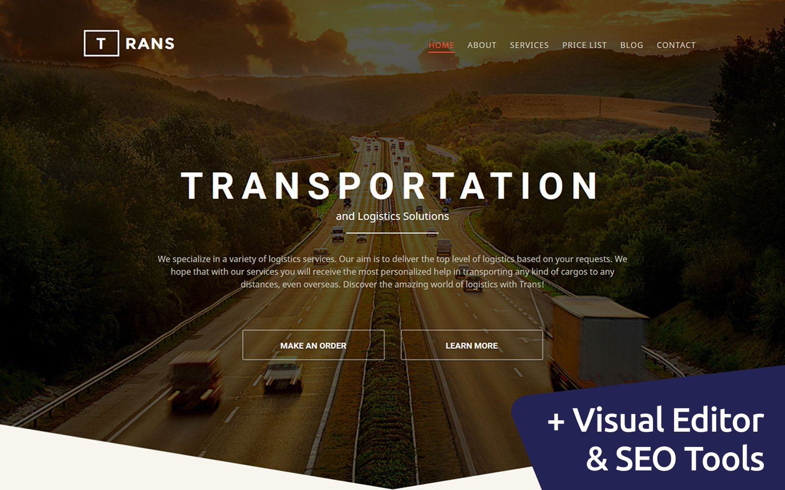 """Trans - Logistic"" Responsive Moto CMS 3 Template №58552"