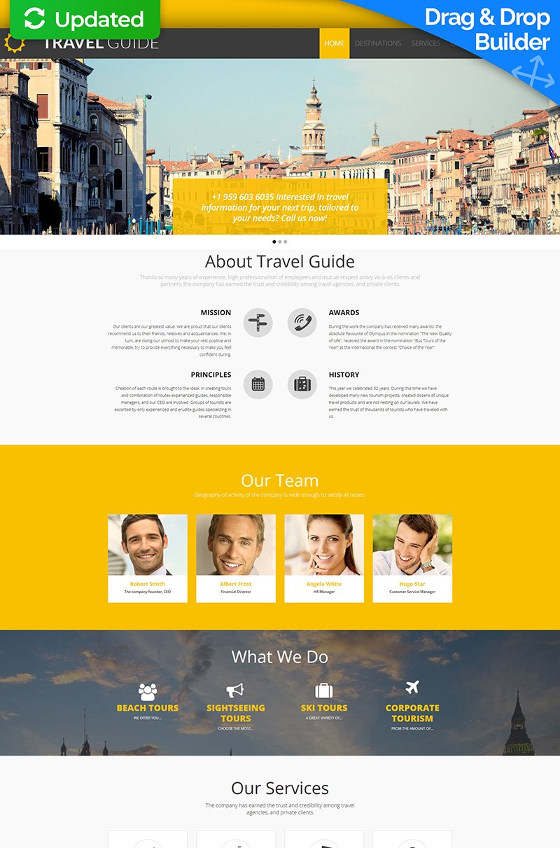 """Travel Guide"" Responsive Moto CMS 3 Template №58554"
