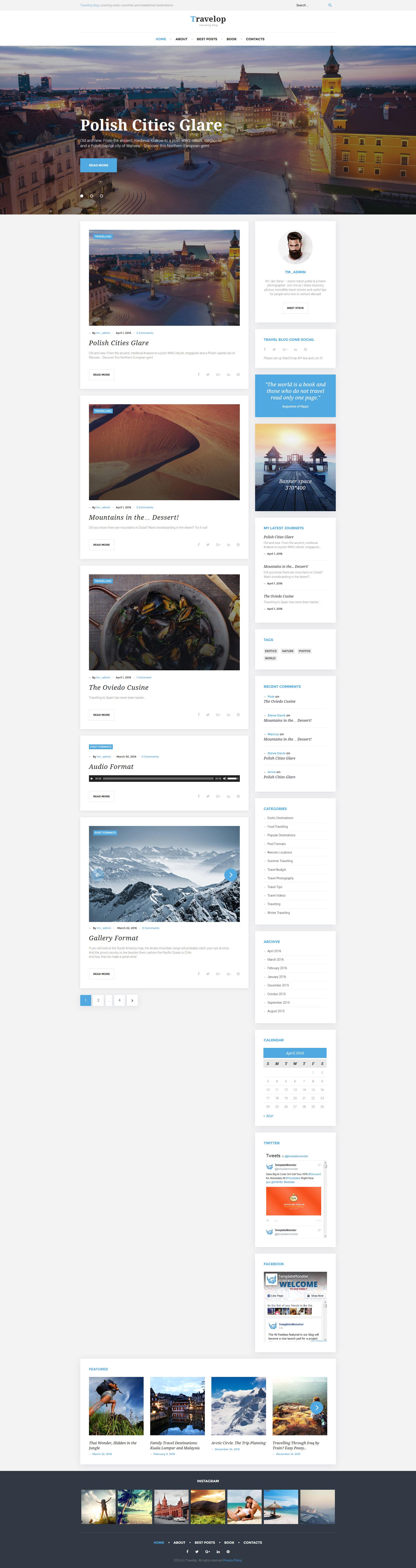 """Travelop - Traveling Blog"" - адаптивний WordPress шаблон №58534 - скріншот"