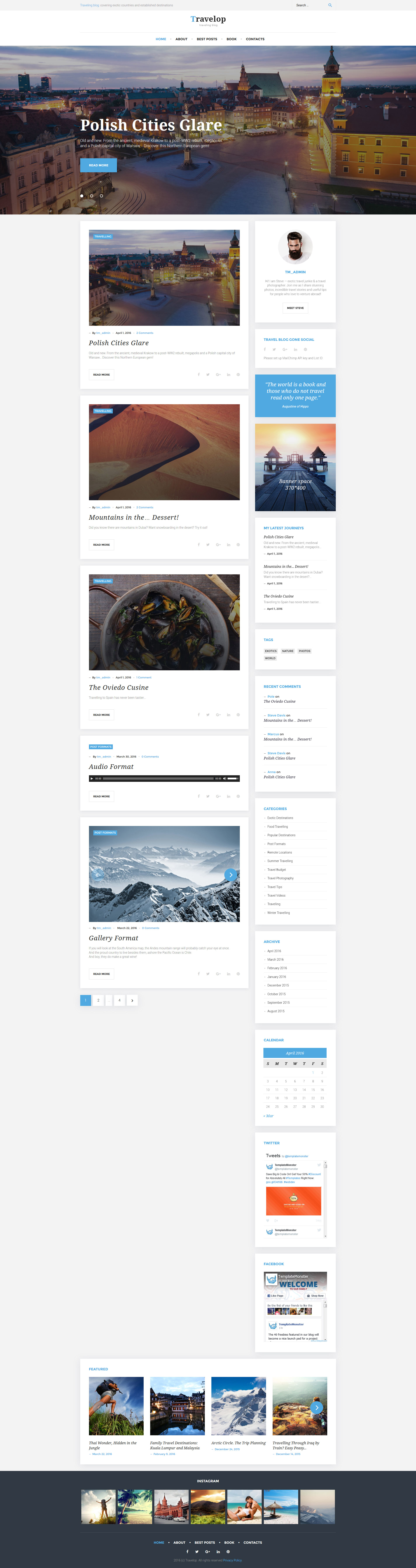 Travelop - Traveling Blog Tema WordPress №58534 - captura de tela
