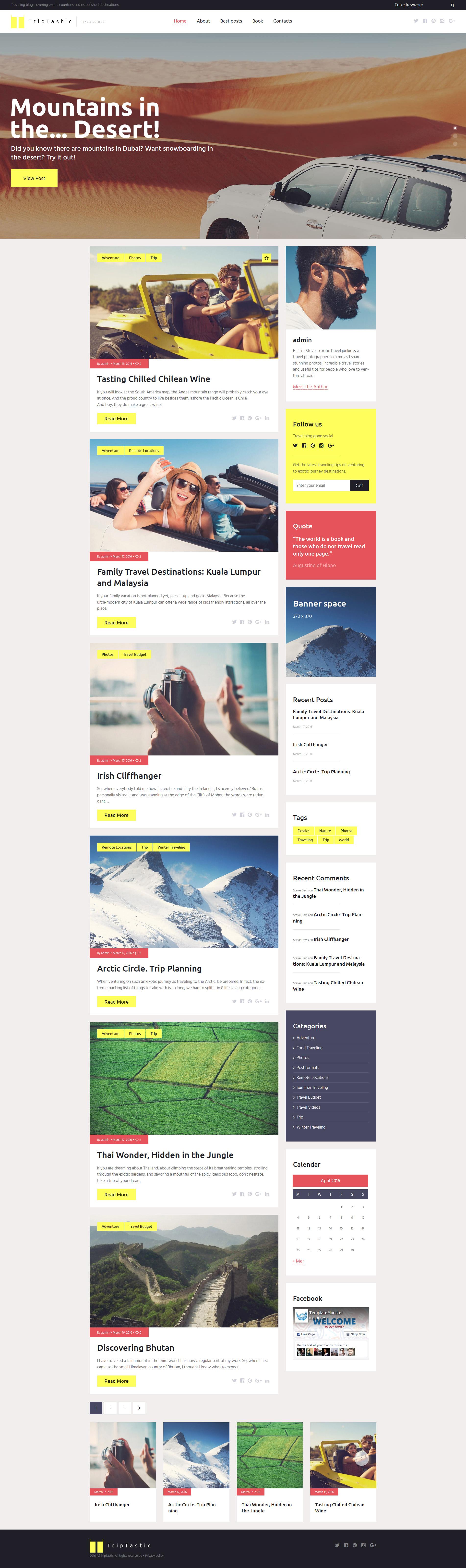 """""""TripTastic - Blog de voyages"""" thème WordPress adaptatif #58562 - screenshot"""