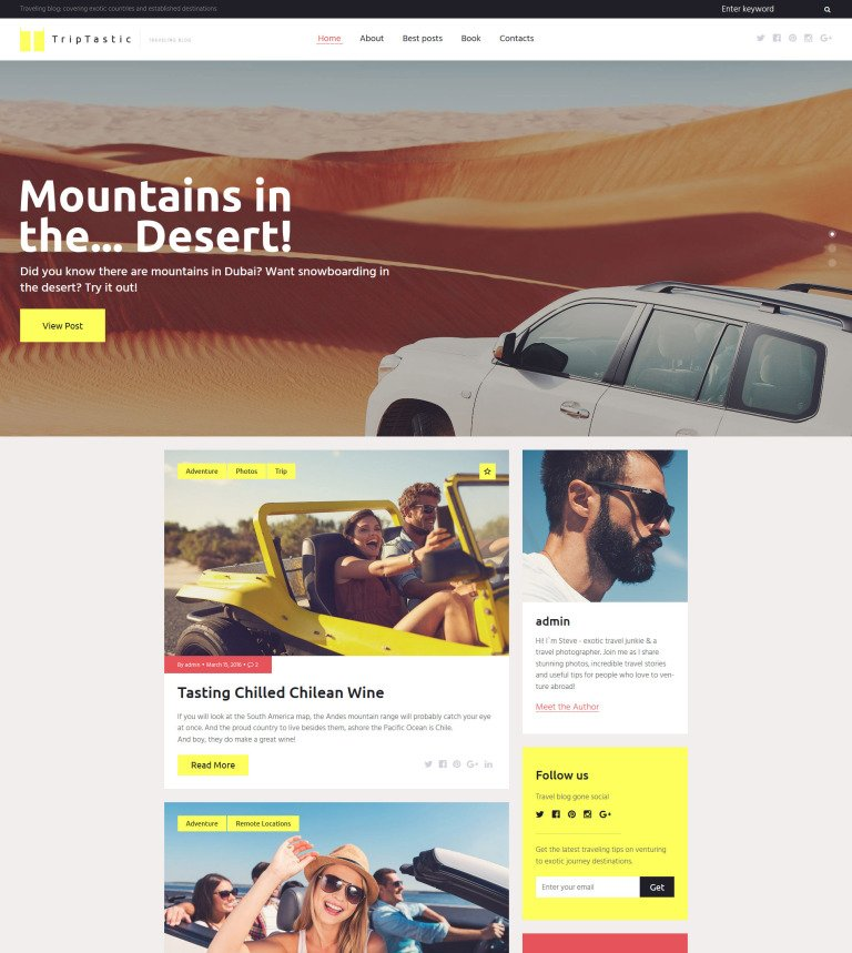 TripTastic - Travel Blog WordPress Theme