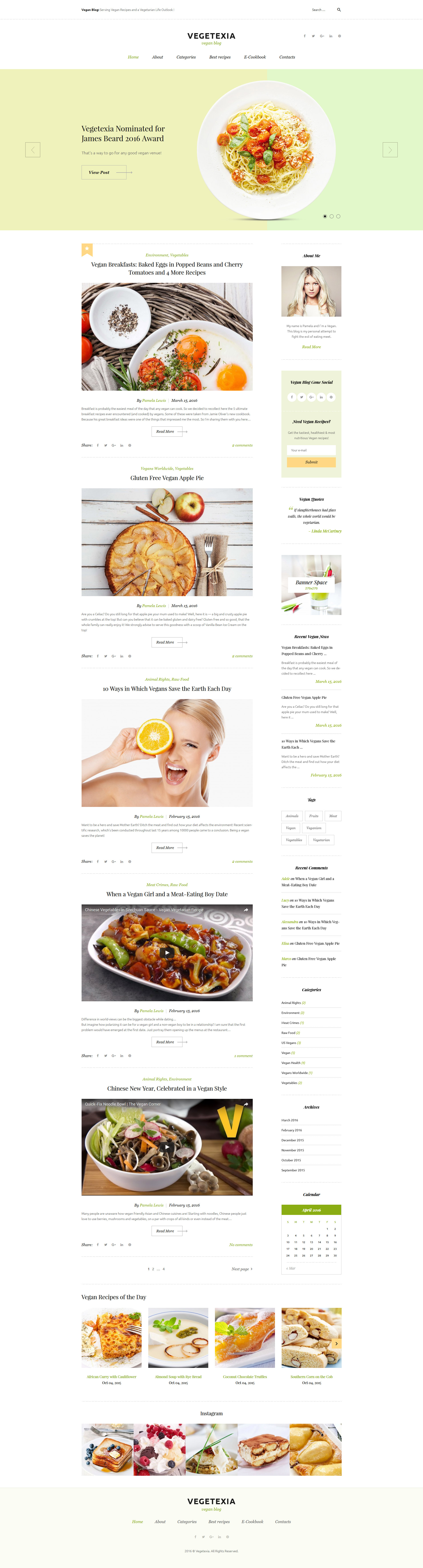 Vegetarian Restaurant Blog WordPress Theme