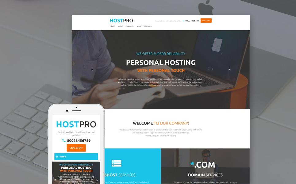 Шаблон HostPro сайта на тему хостинг #58537