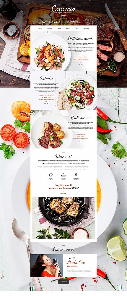 Cafe And Restaurant Moto Cms 3 Template Website Templates