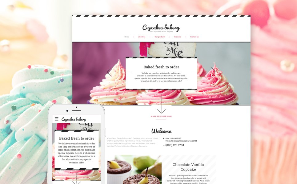 Cupcakes Bakery template illustration image
