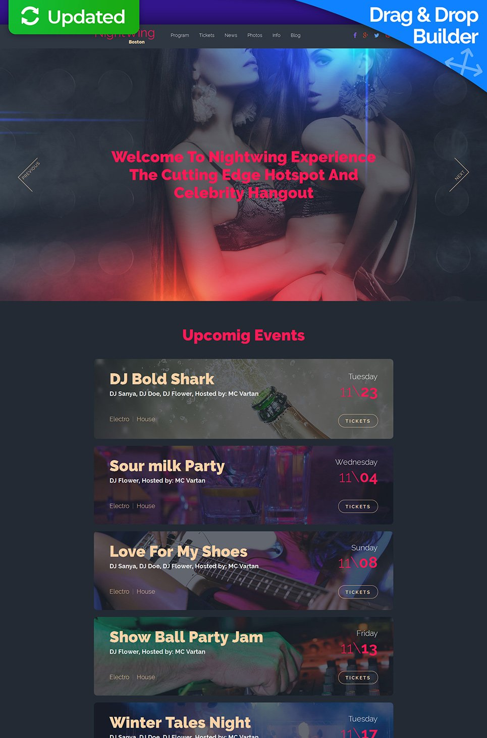 Black design for night club site