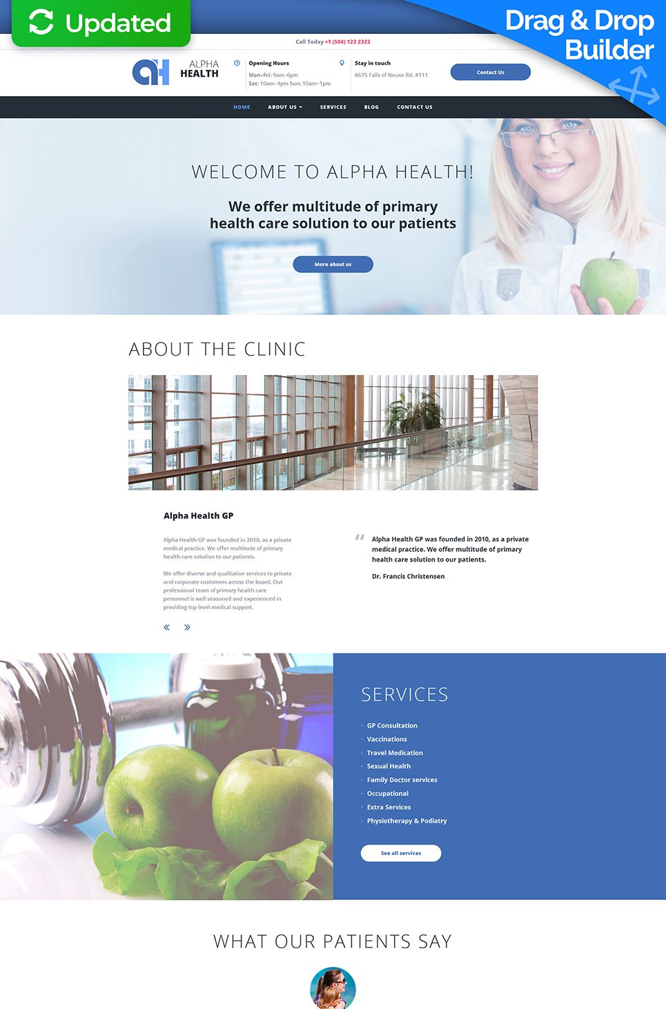 Responsive theme for health care facility