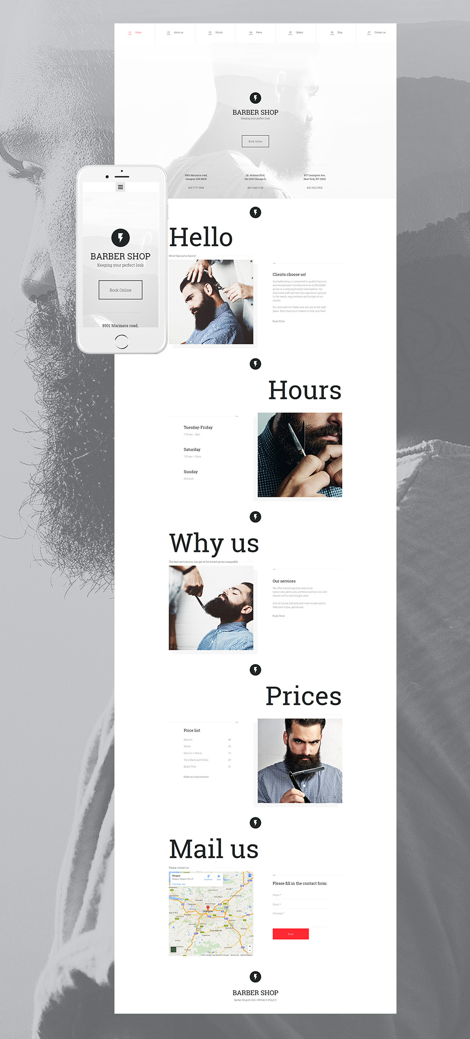 Clean theme for barber shops