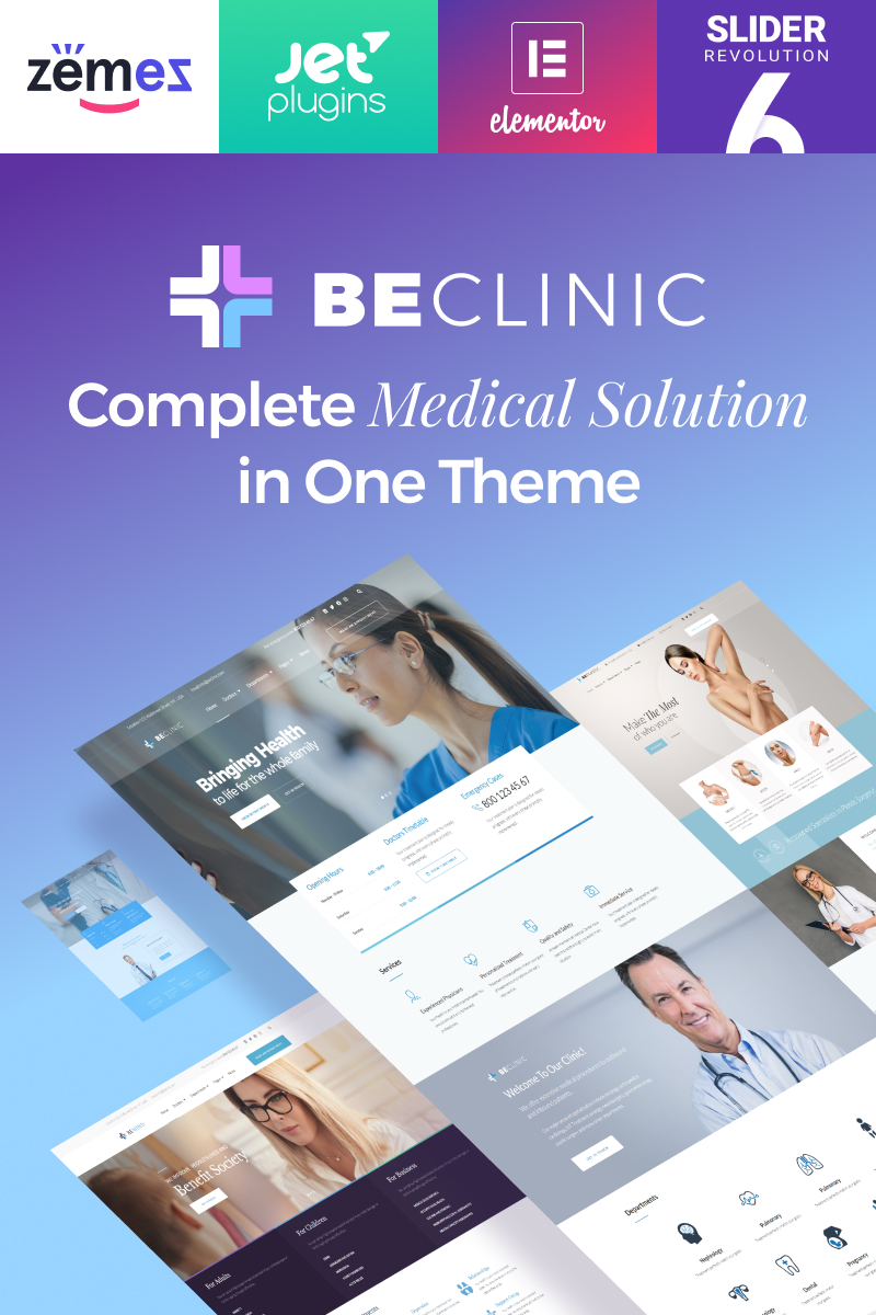 """BeClinic - Multipurpose Medical"" - адаптивний WordPress шаблон №58654"