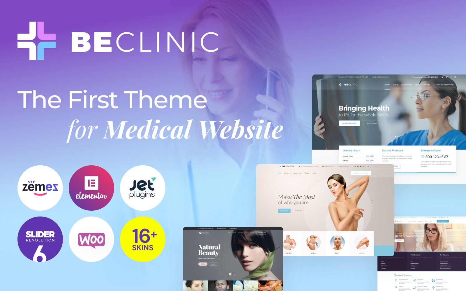 """BeClinic - Multipurpose Medical"" 响应式WordPress模板 #58654"