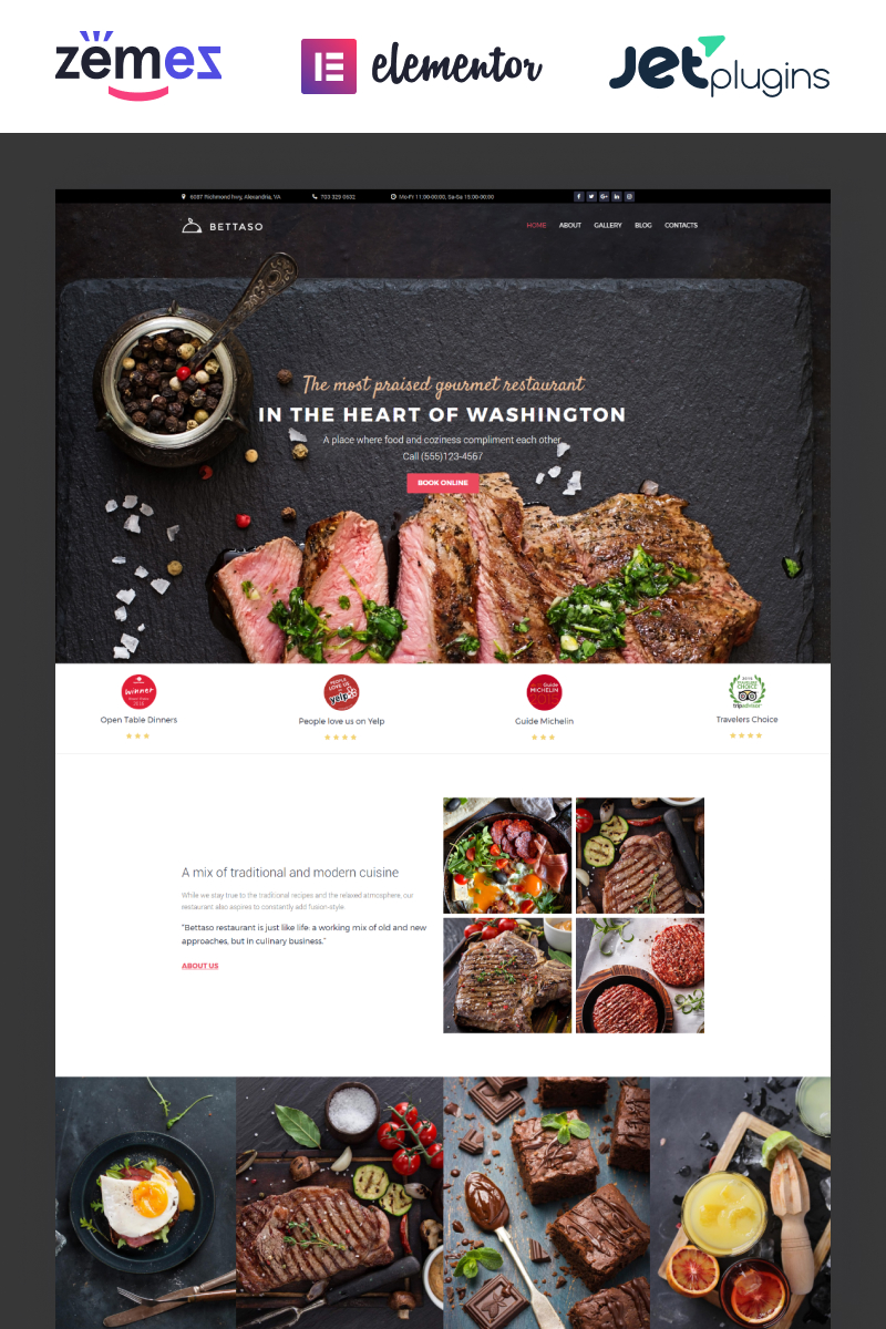 """Bettaso - Cafe & Restaurant"" Responsive WordPress thema №58667"
