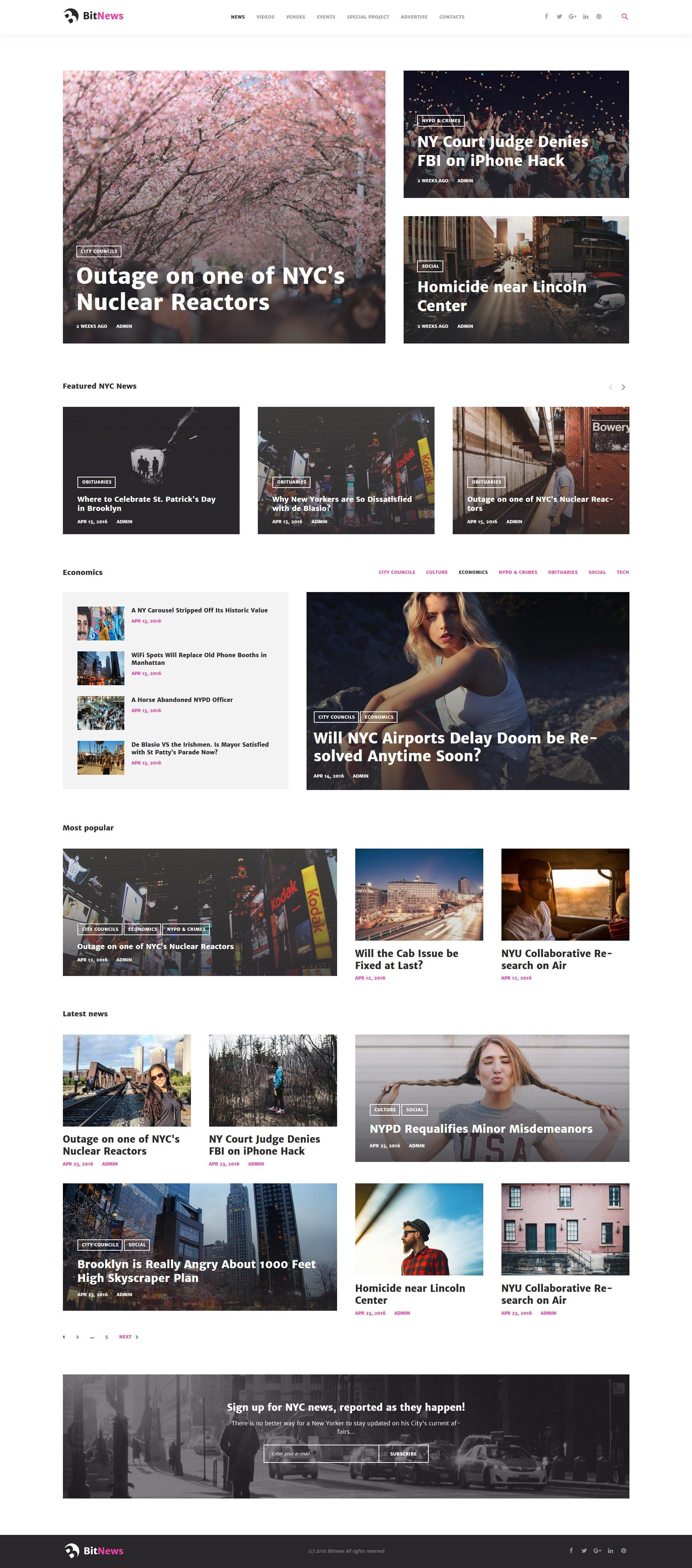 """BitNews - Blog Magazine & News Portal"" 响应式WordPress模板 #58664"