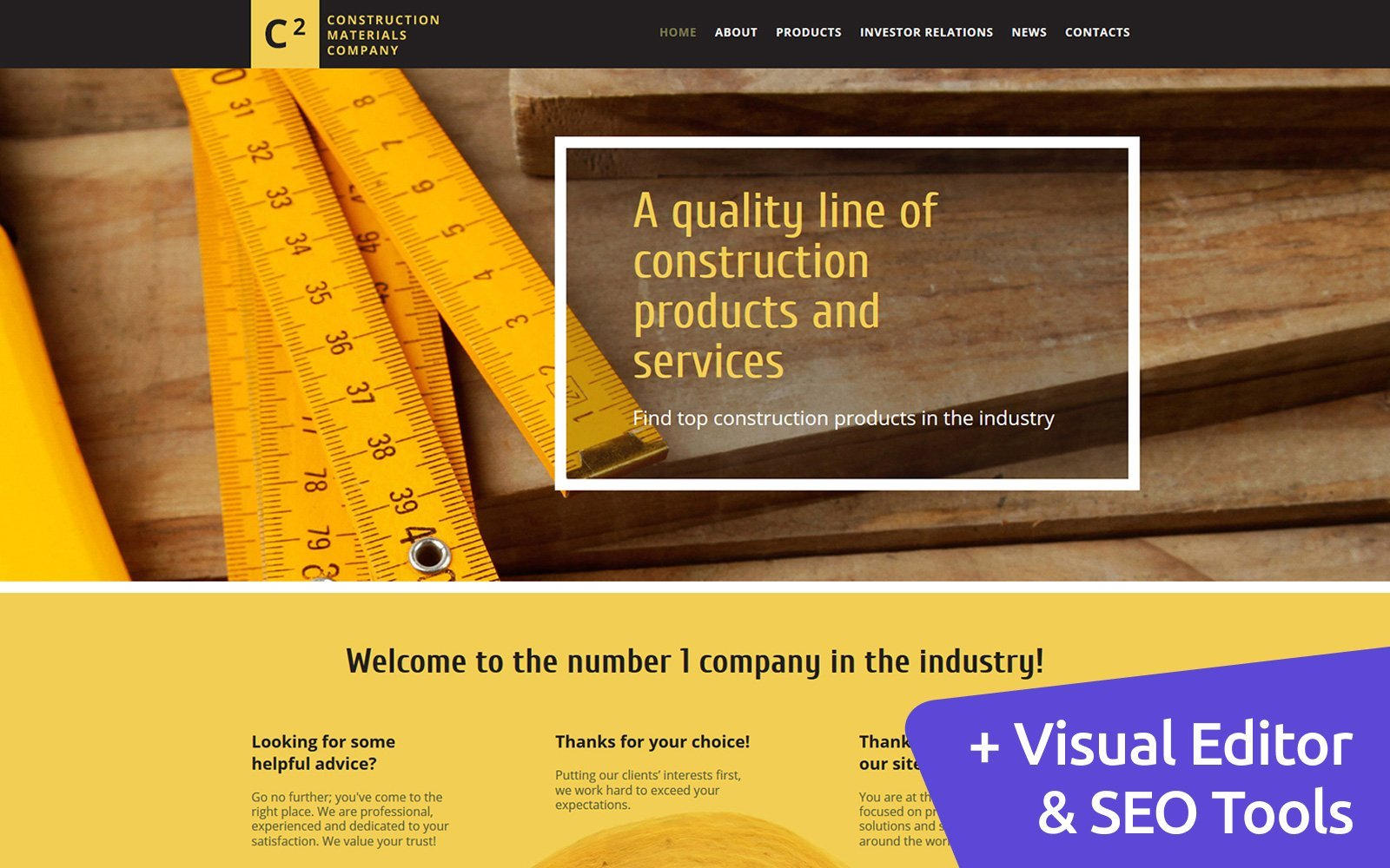 """C2 - Construction Materials Company"" - адаптивний MotoCMS 3 шаблон №58617"