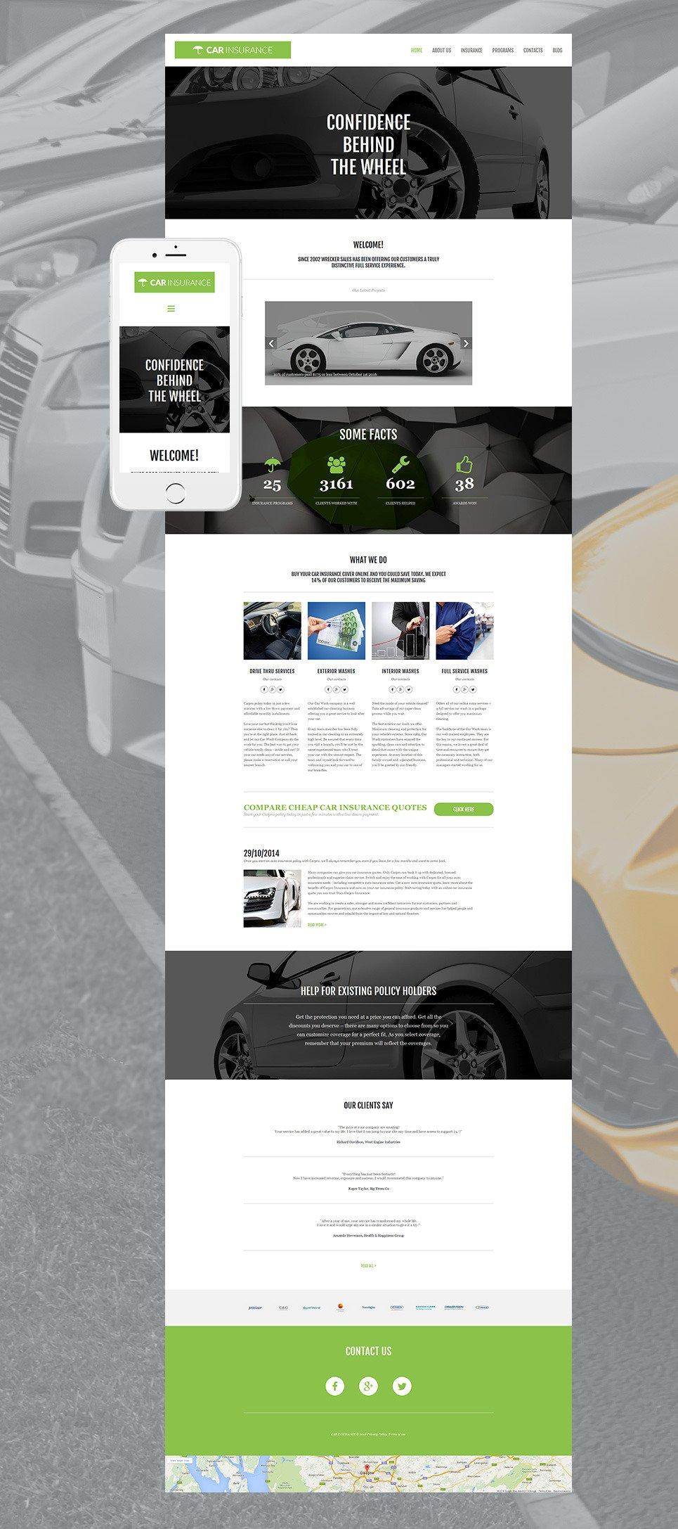 Car Insurance Responsive Moto CMS 3 Template New Screenshots BIG
