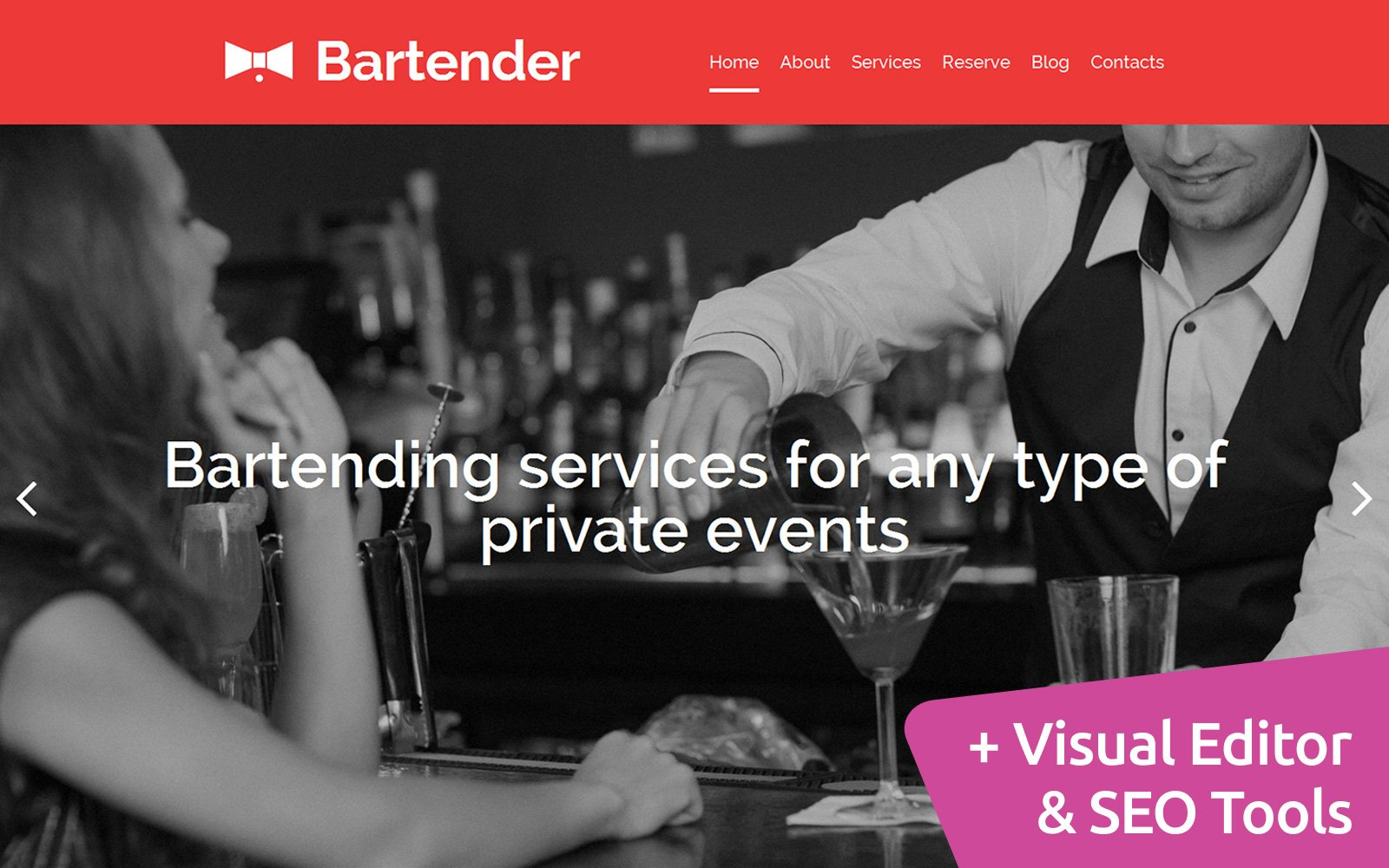 """Catering Services"" Responsive Moto CMS 3 Template №58622"