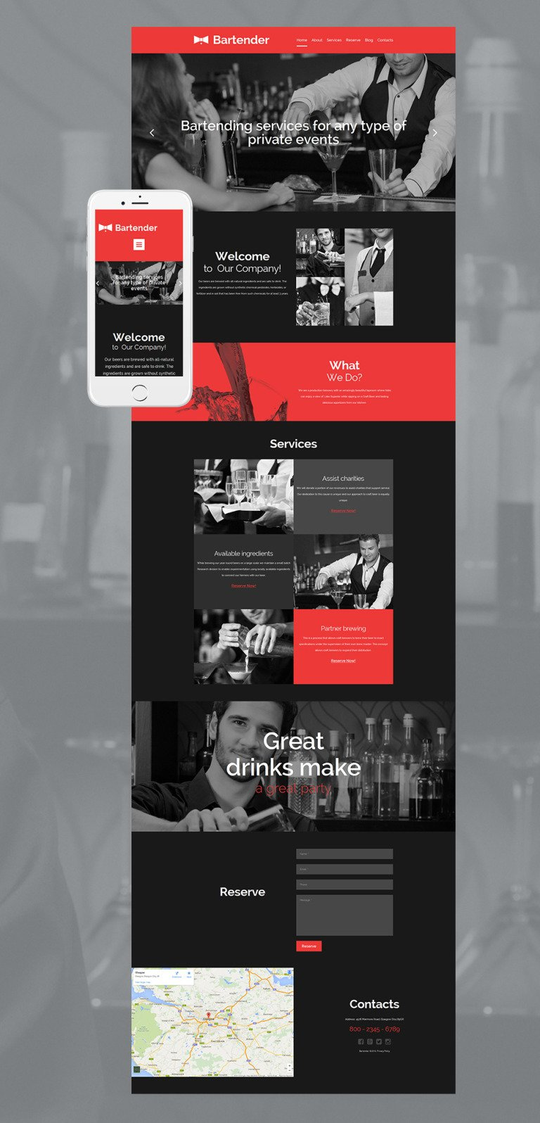 Cocktail Bar Responsive Moto CMS 3 Template New Screenshots BIG