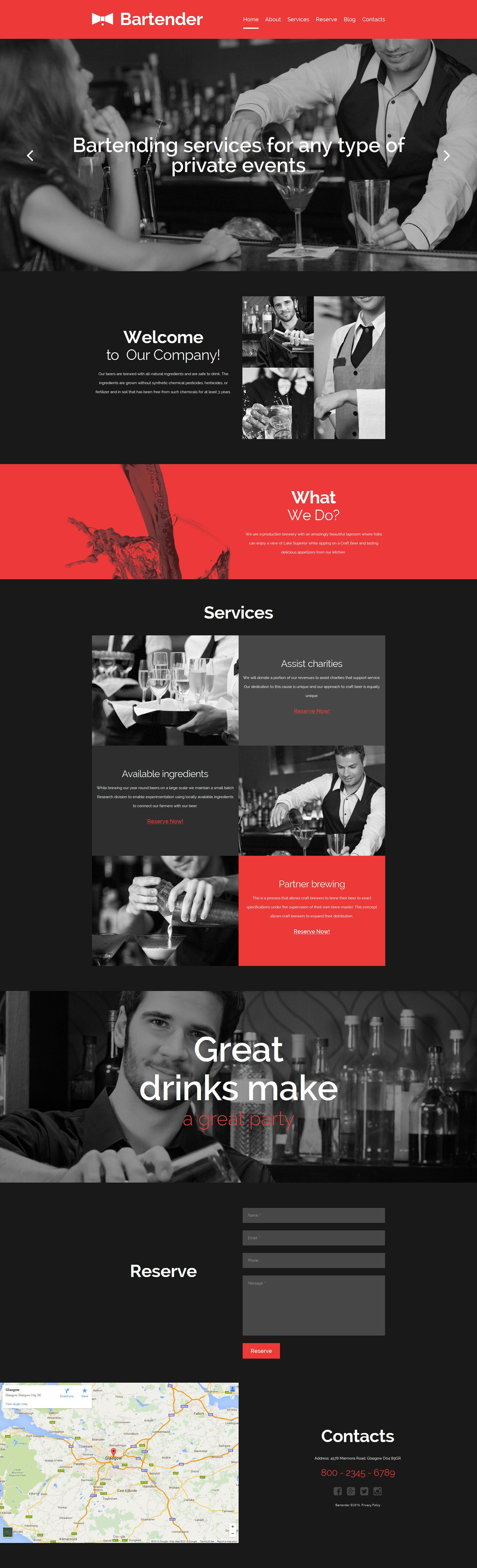 Cocktail Bar Responsive Moto CMS 3 Template #58622