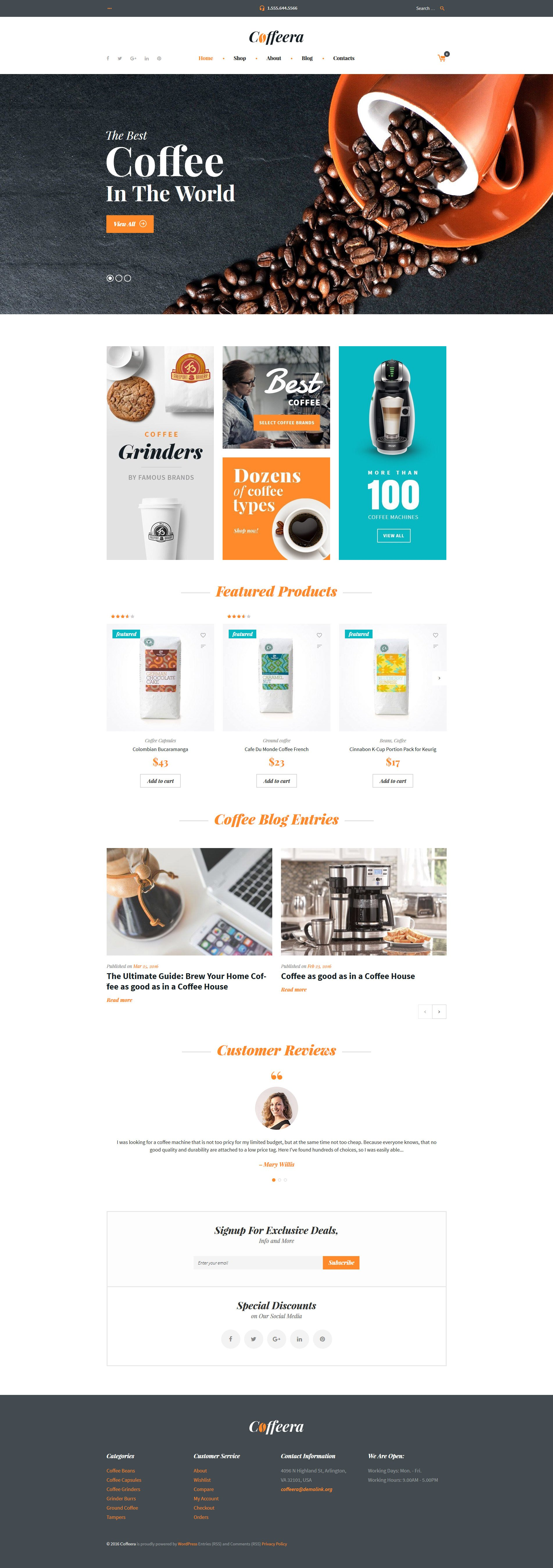 Coffee Shop WooCommerce Theme - screenshot