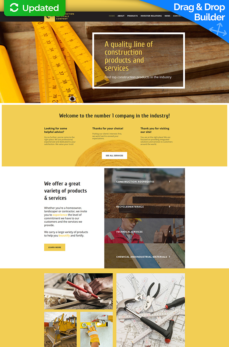 Construction Company Responsive Moto CMS 3 Template - screenshot