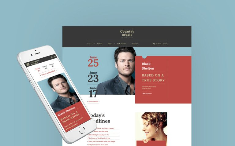 Country Music - Musician Responsive Multipage Website Template New Screenshots BIG