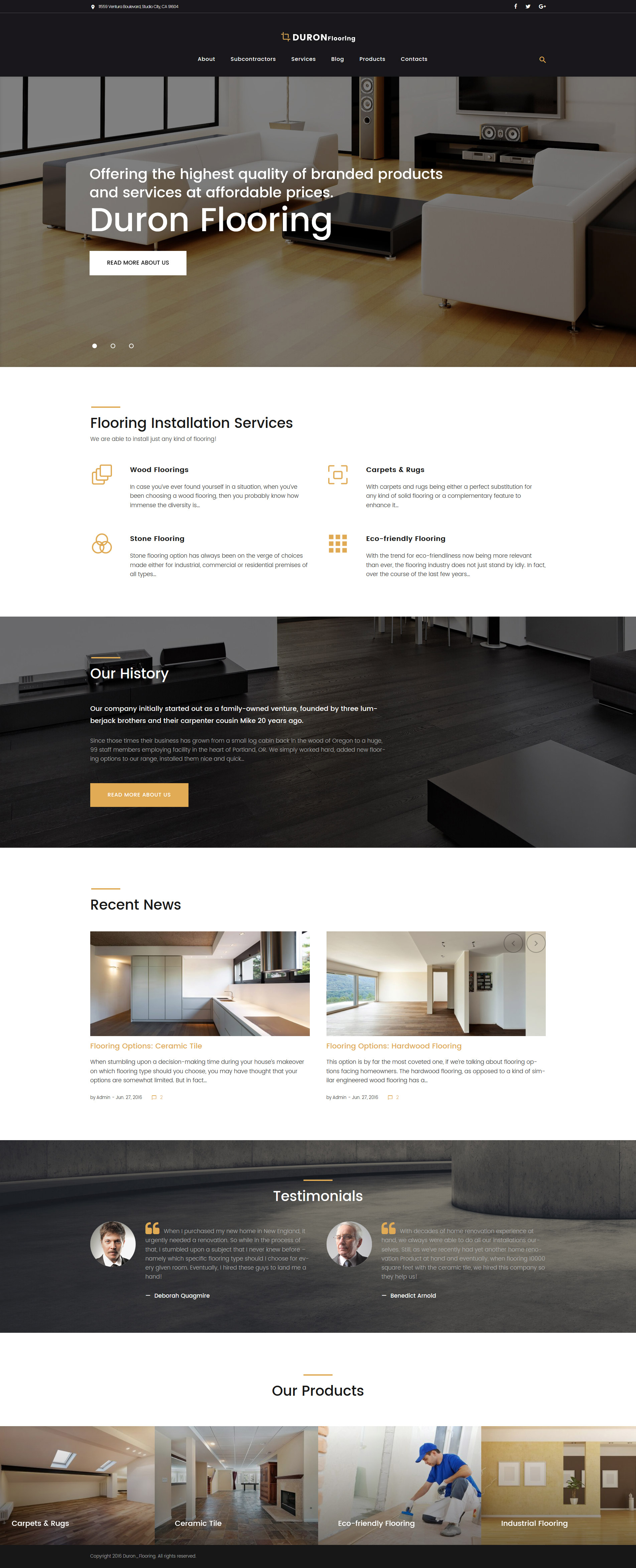 """DuronFlooring - Interior & Furniture and Flooring"" - адаптивний WordPress шаблон №58674 - скріншот"