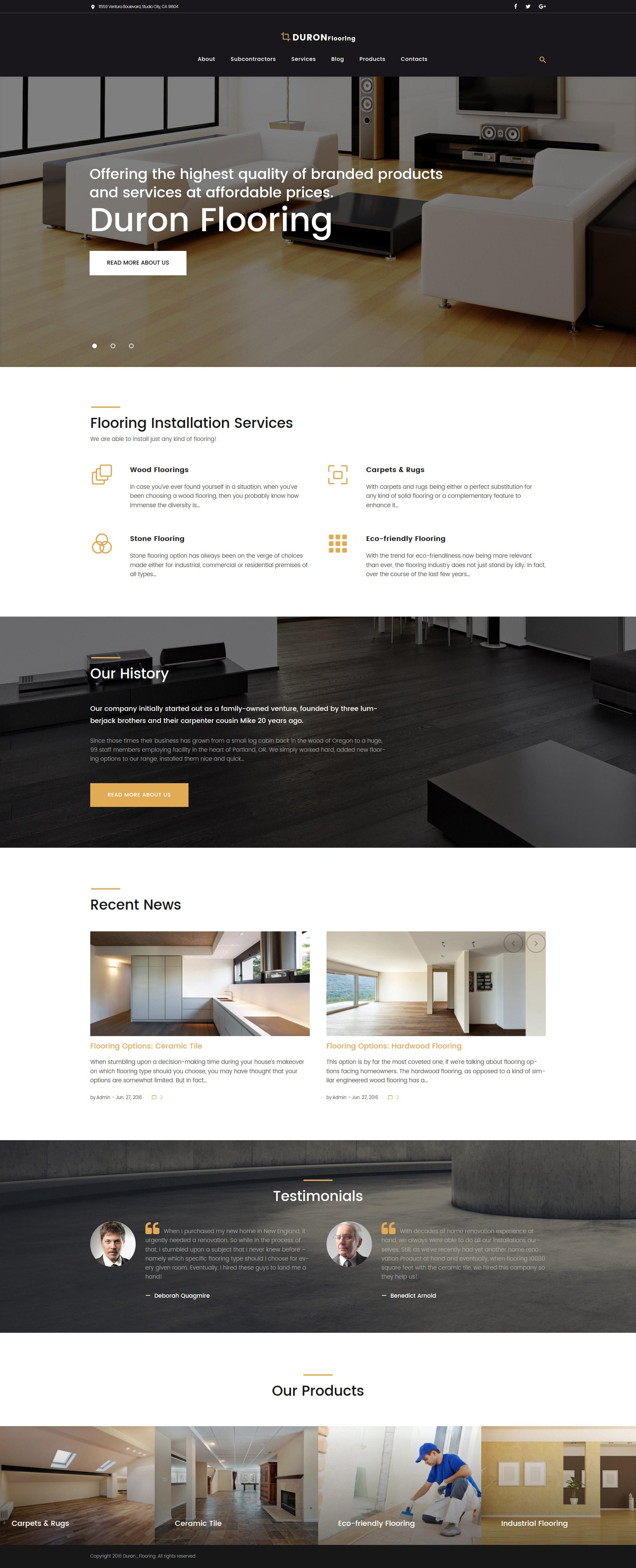 """DuronFlooring - Interior & Furniture and Flooring"" 响应式WordPress模板 #58674 - 截图"