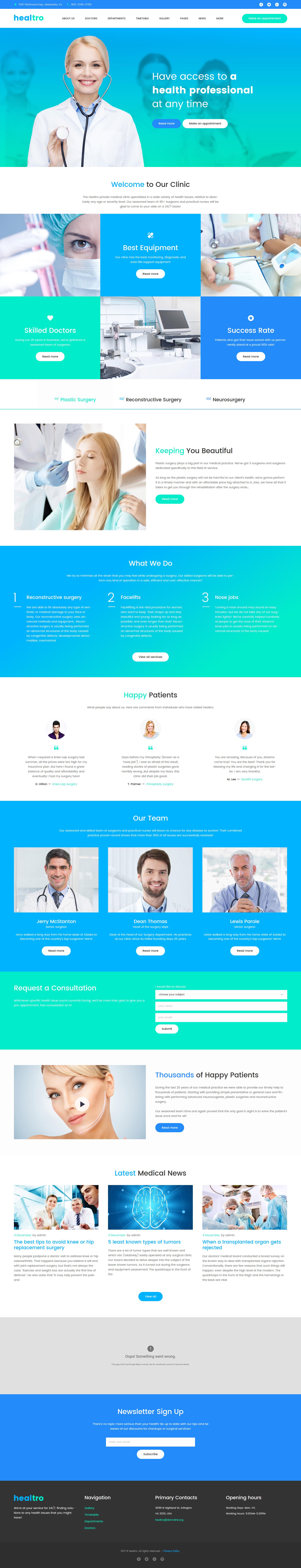 """Healtro - Clinique médicale privée"" thème WordPress adaptatif #58677"