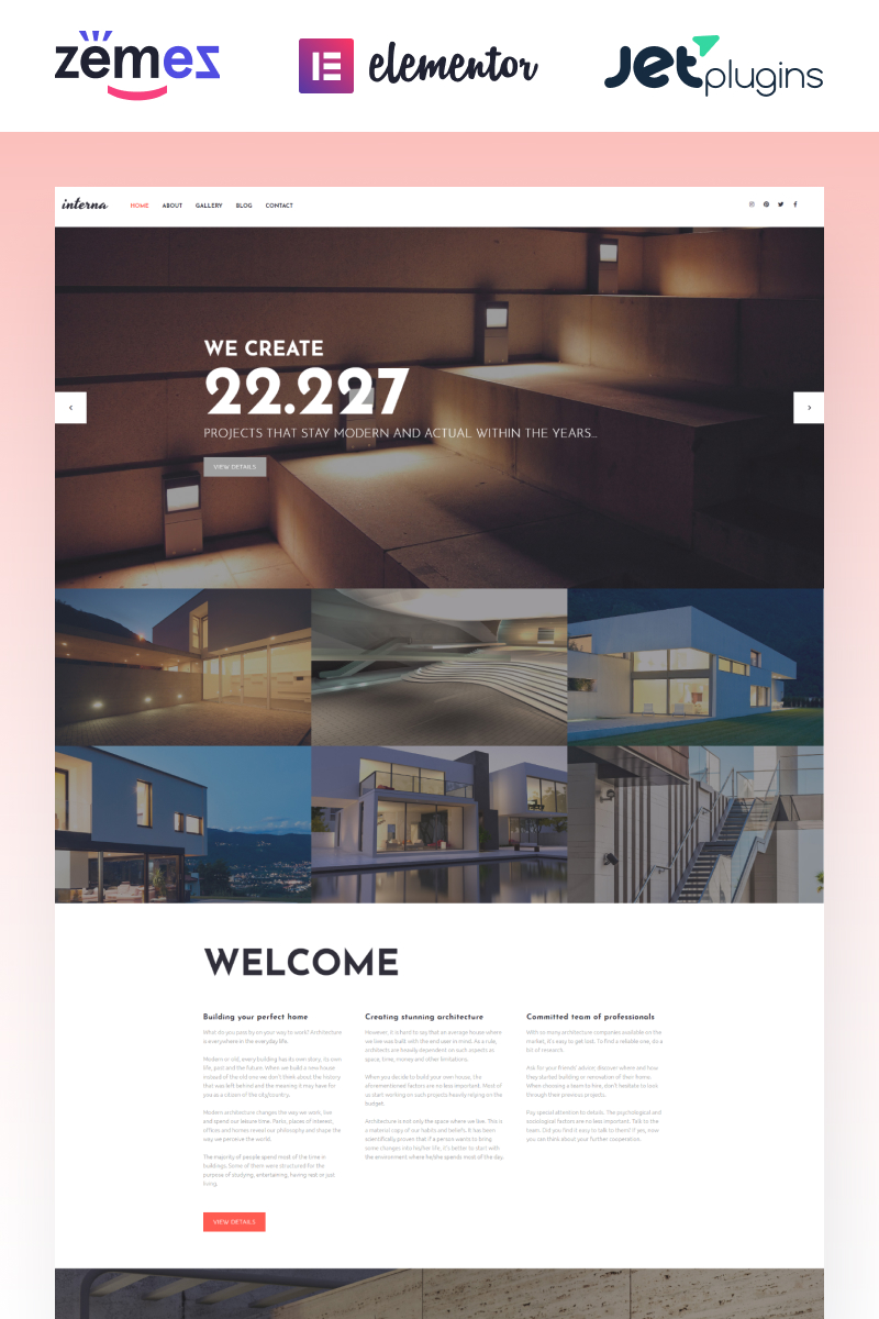 """Interna - Exterior Design Template with Elementor Builder"" Responsive WordPress thema №58640 - screenshot"