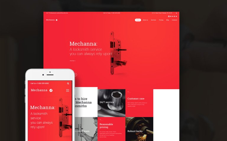 Mechanna - Locksmith WordPress Theme New Screenshots BIG