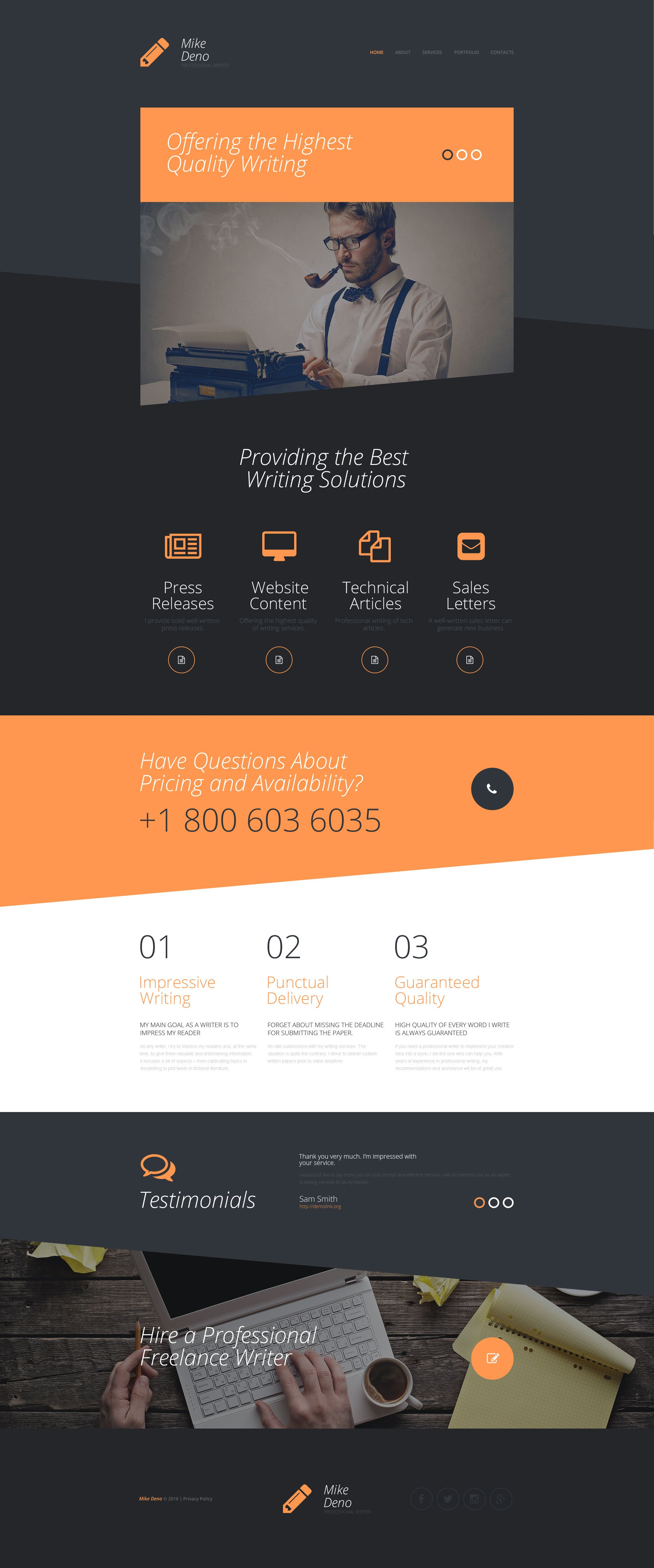 Personal profile web template mike deno website template pronofoot35fo Image collections